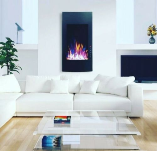 32 INCH BLACK LED  VERTICAL WALL MOUNTED GLASS ELECTRIC FIRE 2019